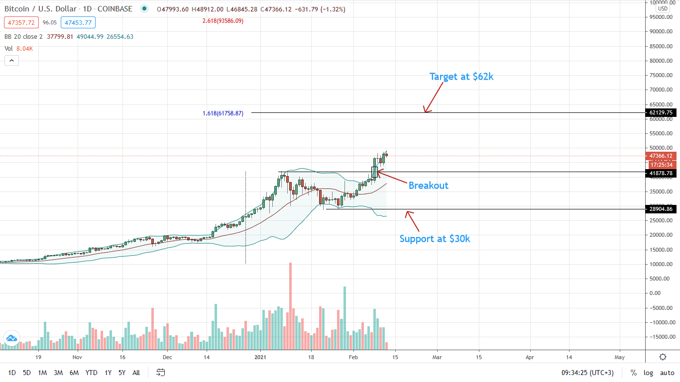 Bitcoin Price Daily Chart for Feb 12