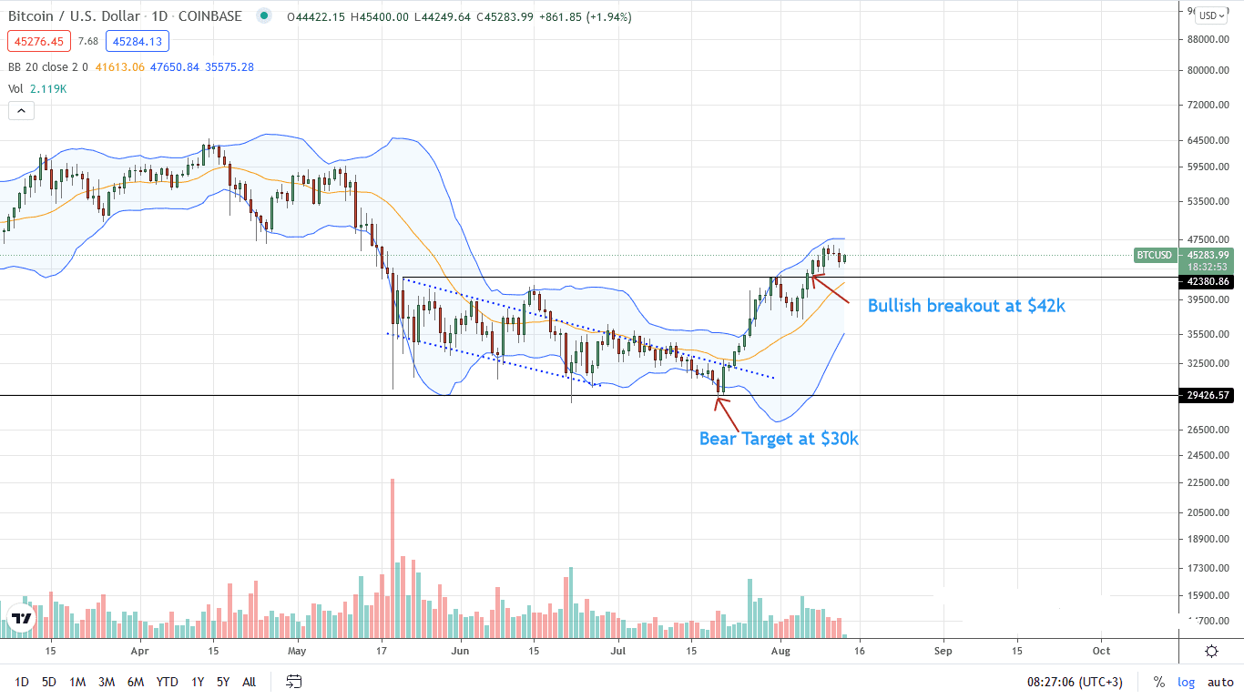 Bitcoin Price Daily Chart for Aug 13